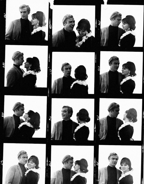 Contact sheet of Anna Karina & Michael Caine, photographed by Terry O'Neill, 1967.