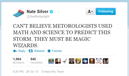 "apsies:  Nate Silver is throwing some snark at his critics. I like it.  Don't you just love how the right is smearing him because his predictions happen to show Romney with a very low chance of winning the presidency? Dean chambers over at Examiner said:  Nate Silver is a man of very small stature, a thin and effeminate man with a soft-sounding voice that sounds almost exactly like the ""Mr. New Castrati"" voice used by Rush Limbaugh on his program. In fact, Silver could easily be the poster child for the New Castrati in both image and sound. Nate Silver, like most liberal and leftist celebrities and favorites, might be of average intelligence but is surely not the genius he's made out to be. His political analyses are average at best and his projections, at least this year, are extremely biased in favor of the Democrats.  That's his critique, that he's a small effeminate man with a high voice who is liberally biased. It reminds me of something out of Idiocracy."