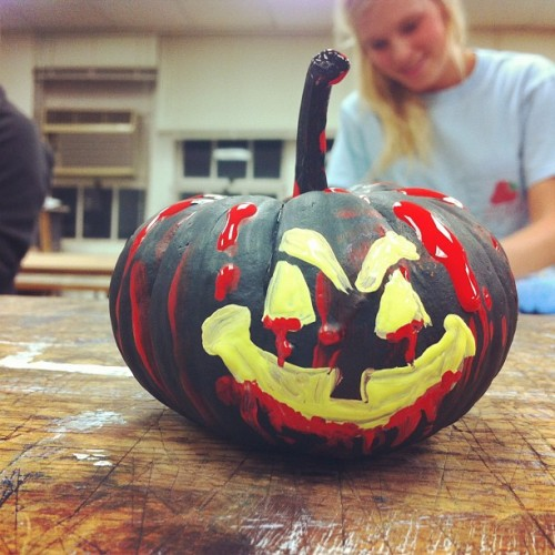 Pumpkin painting for AIGA—the pumpkin cannibal. #halloween #pumpkin #bloooood