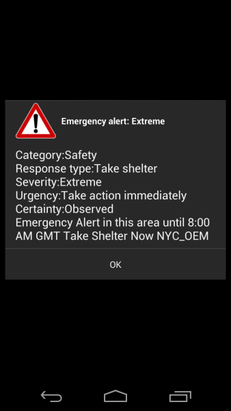 Just got this Emergency alert from my phone.. #hurricanesandy