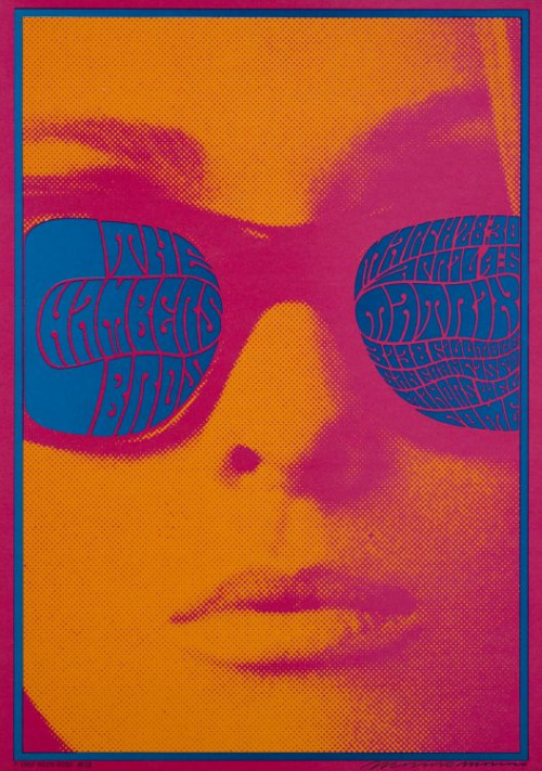 "VICTOR MOSCOSO Neon Rose Series #12, 1967 Official 1967 concert poster for The Chambers Brothers at the Matrix in San Francisco, CA on Mar 28-30 and April 4-6, 1967. 14"" x 20"""