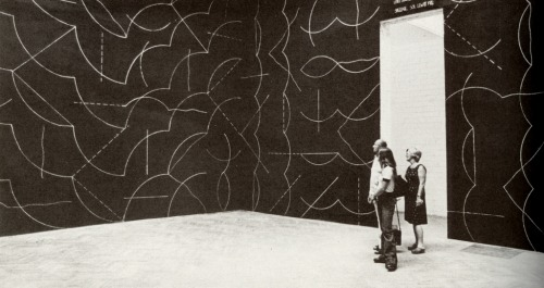 cavetocanvas:  Sol LeWitt, Wall Drawing #260: All Combinations of Arcs from Corners and Sides; Straight, Not Straight and Broken Lines, 1976 Sol LeWitt was one of the first conceptual artists to emerge on the American art scene; in this and other wall drawings, LeWitt doesn't actually execute the drawings himself. Instead, he provides instructions for a draftsperson to recreate, ensuring each drawing is specific to the site where it's installed. Thus, the piece exists as a conceptual idea until it's actually executed by someone, and consists of both the idea and form. Even if it's not drawn out, however, the wall drawings can still function as an art piece that exists in concept form, hence the term conceptual art.  Love that man…