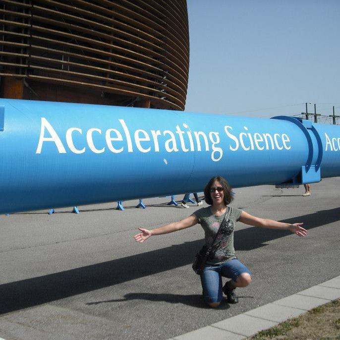 lookslikescience:  Andrea, Neuroscience PhD student, pictured here at CERN in Geneva, Switzerland. I volunteer at the animal shelter on the weekends and also take belly dance and ballroom dance lessons most nights out of the week - if I'm not running an experiment in lab.  I'd love some lab time with her ;)