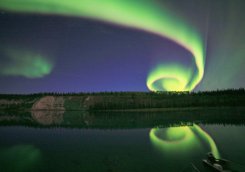 cruisecontrolforcool:  swirling aurora, photographed by david cartier in yukon territory