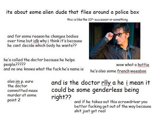 kili-at-my-service:  sp00kybunny:  jacknoir-sexual:  Doctor Who according to me.  The british slenderman  no but 9 the doctor's bOYFRIEND