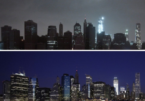buzzfeedandrew:  Amazing shot of New York City skyline with power out compared to a normal shot. via the AP