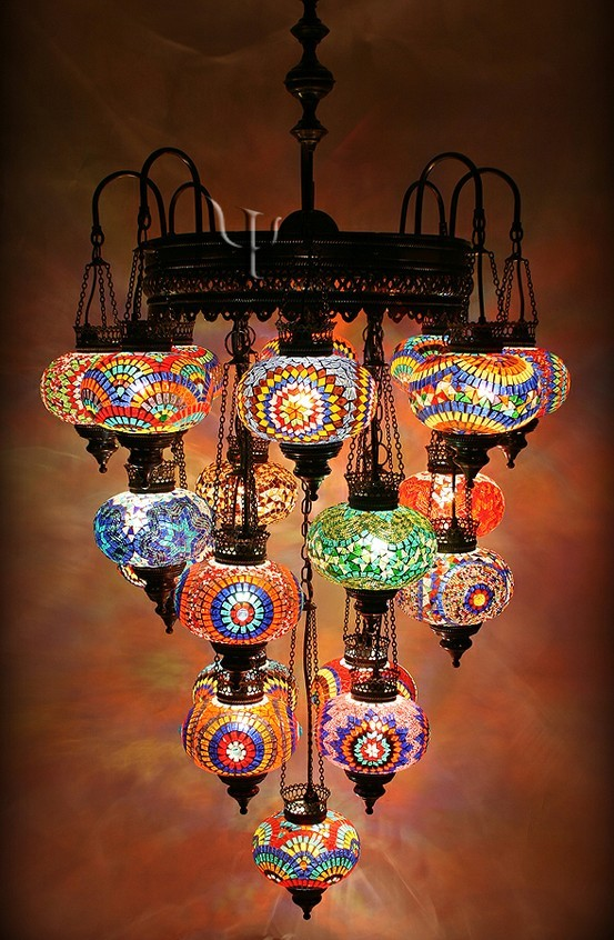 I know I've posted lanterns like this before, but this is a whole chandelier of them!