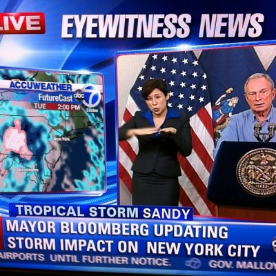 triciawang:  The best part about Hurricane Sandy updates from NYC is watching the badass Lydia Callis sign language next to Mayor Bloomberg's expressionless face. And now there is a whole blog dedicated to Lydia Callis, set up by Baratunde.