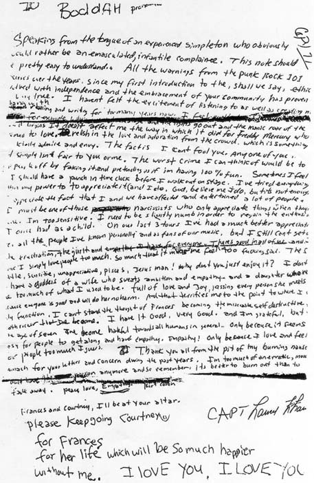 Kurt Cobain's suicide note, April 1994.