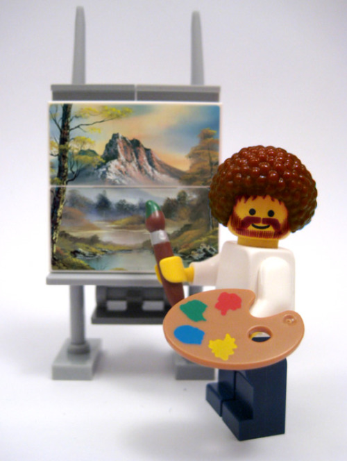 "ronulicny:  hahamagartconnect:  HAPPY BDAY BOB ROSS Robert Norman ""Bob"" Ross (October 29, 1942–July 4, 1995) was an American painter, art instructor, and television host of The Joy of Painting. But perhaps known best as the creator of the 'happy trees'.  BOB ROSS + LEGOS = FTW!!!!….HAPPY HAPPY BOB!!!…. :D"