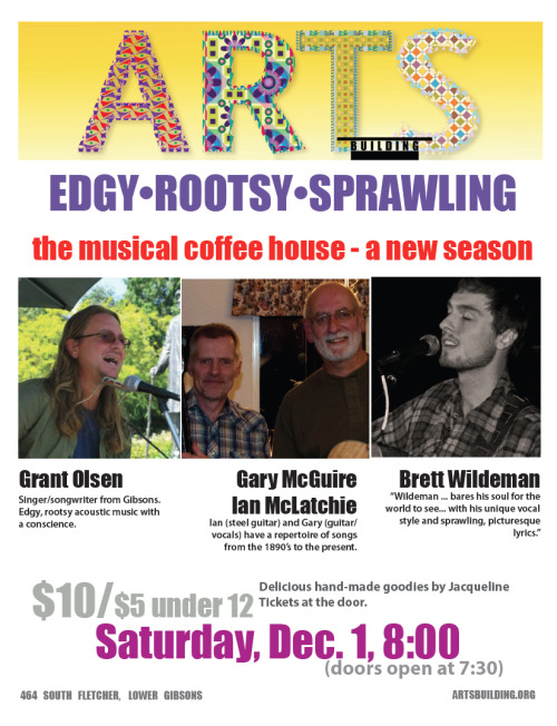 Playing in beatuiful Gibsons, BC on the Sunshine Coast on December 1st. Performing along side Grant Olsen, Gary McGuire and Ian McLatchie. It should be a lovely evening!
