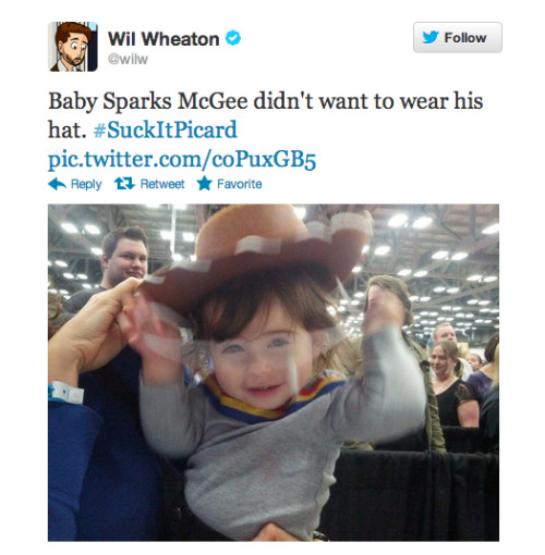 adventuresofnerdfamily:  Wil Wheaton loved nerdbaby as Sparks McGee!  Small child Sparks McGees are the cutest!
