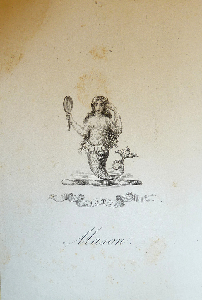 "sailorgil:  "" Bookplate — Mermaid With Comb and Mirror ""  ….  Engraving, No Date, Probably 19th Century"