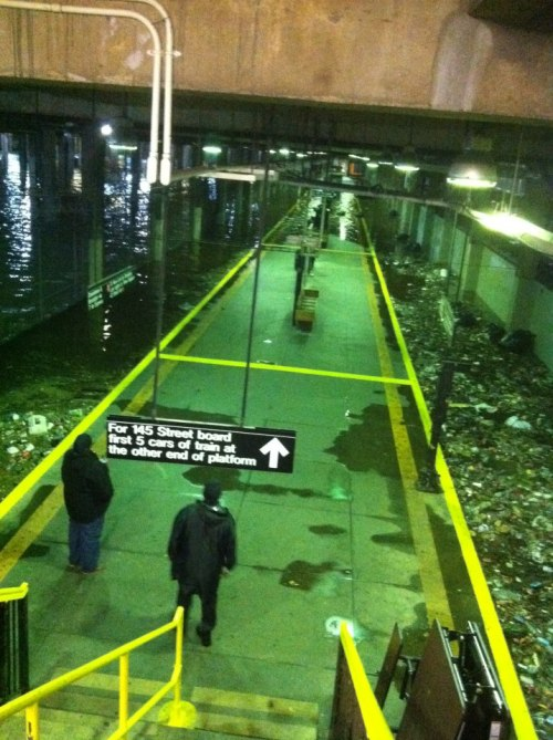 mildlyamused:  Flooded subway station at 145th street.