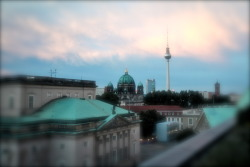A view from the top of the Hotel de Rom in Berlin.  Hello pretty Fernsehturm!
