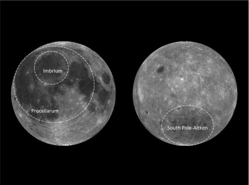 Moon's Mysterious 'Ocean of Storms' Explained CREDIT: Japan's National Institute of Advanced Industrial Science and Technology. The near side (left) and far side (right) of the moon, showing the outline of the three biggest impact basins.