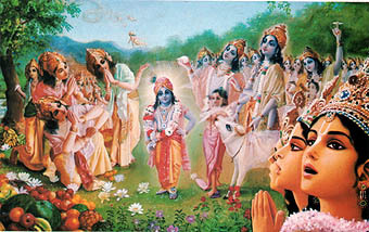 "strengthofthestrong:  When Lord Kṛṣṇa was within this universe, Brahmā played a trick on Him in order to confirm that the cowherd boy inVṛndāvana was actually Kṛṣṇa Himself. By his mystic power, Brahmā stole all the cows, calves and cowherd friends of Kṛṣṇa and hid them. However, when he returned to see what Kṛṣṇa was doing alone, he saw that Kṛṣṇa was still playing with the same cows, calves and cowherd boys. In other words, by His Vaikuṇṭha potency, Lord Kṛṣṇa had expanded all the stolen cows, calves and friends. Indeed, Brahmā saw millions and billions of them, and he also saw millions and billions of tons of sugarcane and fruit, lotus flowers and horns. The cowherd boys were decorated with various clothes and ornaments, and no one could count their vast numbers. Indeed, Brahmā saw that each of the cowherd boys had become a four-handed Nārāyaṇa like the predominating Deity of each brahmāṇḍa, and he also saw that innumerable Brahmās were engaged in offering obeisances to the Lord. He saw that all of them were emanating from the body of Kṛṣṇa and, after a second, also entering into His body. LordBrahmā became struck with wonder and in his prayer admitted that although anyone and everyone could say that they knew about Kṛṣṇa, as far as he was concerned, he did not know anything about Him. ""My dear Lord,"" he said, ""the potencies and opulences which You have exhibited just now are beyond the ability of my mind to understand."""