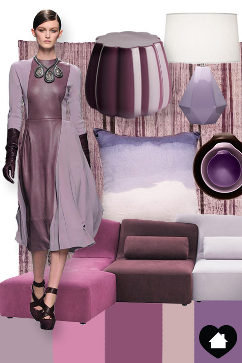 LAYERED PURPLES: Dior - F12 RTW, Abc Carpet & Home - Turkish Kilim, Skitsch - Oppiacei, Robert Abbey  - Delta Lamp, Ombre Pillow, Normann Copenhagen - Jensen Bowls, Ligne Roset - Confluences