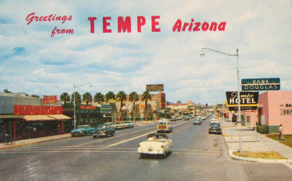 Postcard of Mill Avenue in Tempe from the late 1950s. It was shot from the intersection of Seventh Street and Mill looking north.