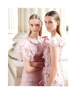 "Nastya Kusakina and Julia Frauche in Chanel Fall 2012 Haute Couture [1] [2] for ""Simply Elegant"" by Patrick Demarchelier for Vogue China F/W 12.13"