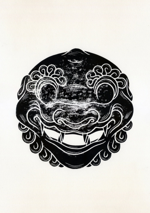 Foo Dog, Lino Print, Edition of 20 (available here)