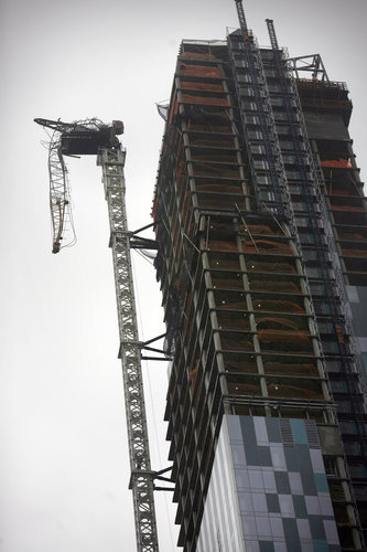 "John Cole | Balloon Juice on the broken crane dangling from the top of luxury condos at 157 West 57th Street in Manhattan:  It's basically the perfect metaphor for trickle down economics and the last three decades. A couple hundred tons of metal death will possibly rain down on the lessers on the ground, the city and taxpayers will have to clean up, and the owners of the $90 million dollar condo will be front and center on the NY Times talking about their ""disaster."" full article"