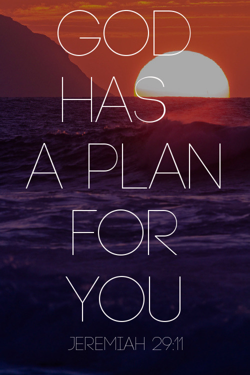 "spiritualinspiration:  "" For I know the plans I have for you,"" declares the Lord, ""plans to prosper you and not to harm you, plans to give you hope and a future"" (Jeremiah 29:11, NIV). No matter what may be happening today, God has good things in store for your future! It may not be easy to see now, but God has already lined up a new beginning, new friendships and new opportunities for you.  Maybe you've experienced some setbacks, but don't make the mistake of expecting the same for your future. Instead, accept God's good plan for your life by declaring His truth. As believers, our attitude should be, ""Even though the economy is down, I'm not worried. I know God is going before me, and He has promised He will make rivers in the desert."" Or, ""The medical report may not look good, but I have another report that says God is restoring health unto me. I believe God has already released healing, health and victory in my future."" Or, you may have a child who is not on the right course. In the natural, it seems impossible. But our report should be, ""I know God can do the impossible!""  Today, be encouraged and don't give up on your tomorrows. Accept the good plan God has for you—a plan filled with hope, purpose, blessing and increase in every area of your life! A Prayer for Today  Father in heaven, thank You for giving me hope and a future. Thank You for loving me. Thank You for choosing me. Thank You for delighting in me. I invite You to renew my heart and mind to the good plans You have for me. In Jesus' Name. Amen."