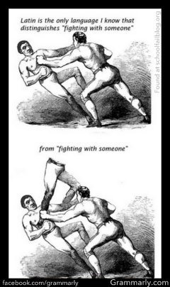 "I have never thought about this. It's true that ""to fight with someone"" and ""to fight with someone"" can mean different things. The first implies having a fight or fighting against someone, while the second implies fighting with someone as a weapon. Ha!"