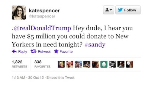 Tweet of the Day, Kate Spencer to Donald Trump. More here.