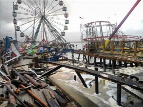 Funtown Pier at Seaside Park in New Jersey is decimated. Photo By: Tim Husar