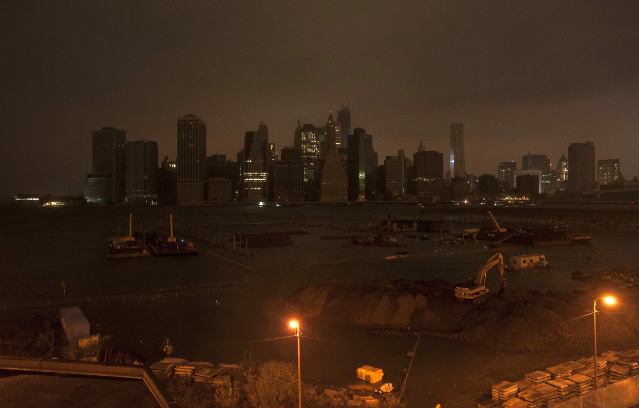 From Hurricane Sandy: After Landfall, one of 26 photos so far. The skyline of lower Manhattan sits in darkness after a preventive power outage in New York October 29, 2012. Hurricane Sandy, the largest Atlantic tropical system on record, brought strong winds and dangerous flooding to the East Coast from the mid-Atlantic states to New England. (Reuters/Keith Bedford)