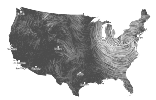 tdnewsdesk:  Hint.fm's wind map of the U.S., as of 8:59 a.m. ET.