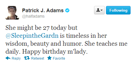 aww. Patrick J Adams is so sweet. ♥