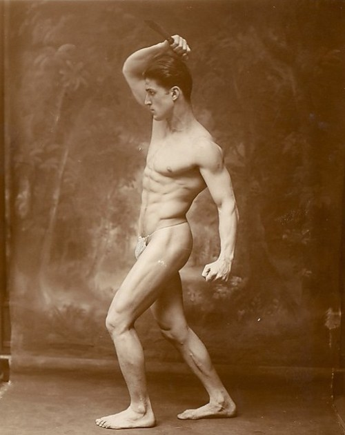 unknown, Male Nude Model Holding Knife, 1950s