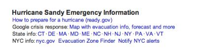 "Google Adds Resources For Those Affected By Superstorm   Google is now sending public alerts to users searching for terms related to Superstorm Sandy. The results will appear on Google Search and Google Maps in desktop browsers and on Google Maps for Android mobile devices, as well as on Google Now for Android devices running Jellybean.  From a blog post written by Google Crisis Response's Nigel Snoad:  Public Alerts provide warnings for natural disasters and emergency situations. They appear based on targeted Google searches, such as [Superstorm Sandy], or with location-based search queries like [New York]. In addition to the alert, you'll also see relevant response information, such as evacuation routes, crisis maps or shelter locations.  For example, when someone in New York City searches Google for ""Superstorm Sandy,"" a block of emergency info will appear above the Google Search results and will include links to disaster preparedness tips, Google's crisis response map, state-by-state responses, local evacuation zone information and more.  (See image above.)  (<em>Catharine Smith, HuffPost</em>)"