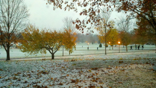 virginiatech:  What happened to fall? It's a cold and snowy day at Virginia Tech!  Bundle up, Hokies! It feels like winter out there. Uggs are out in full force.