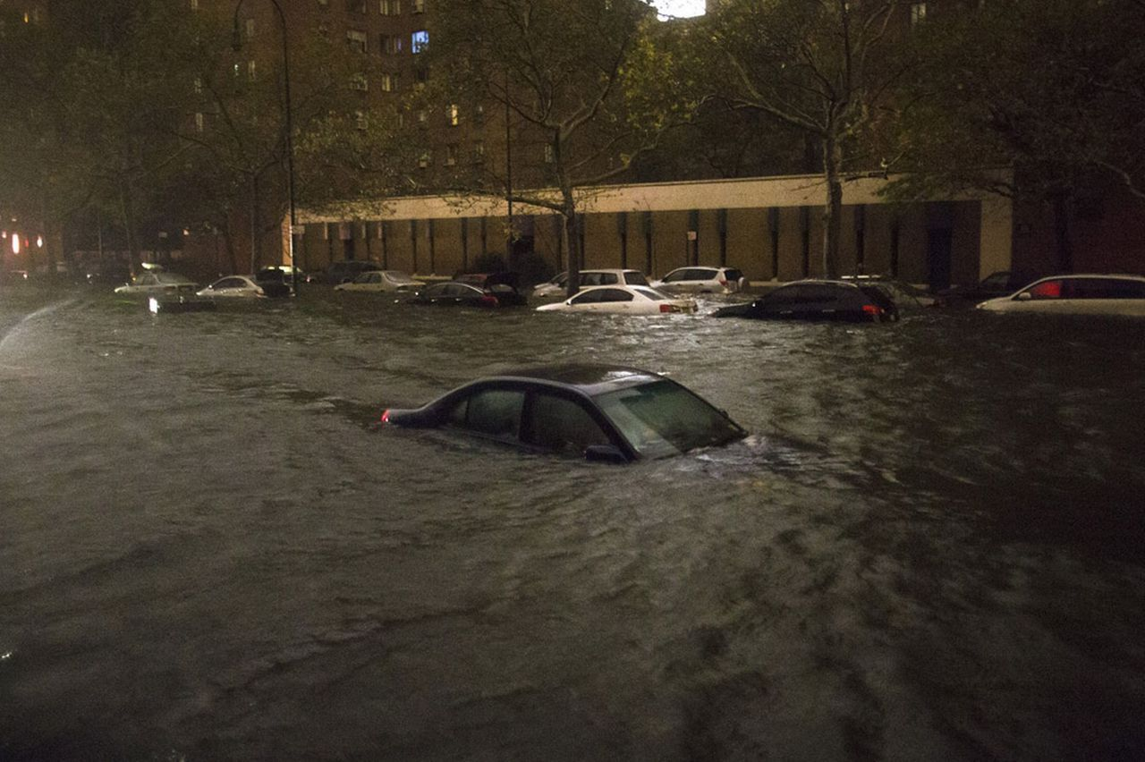 theoryofpropoganda:  A submerged vehicle on 14th Street near the Consolidated Edison power plant in New York.