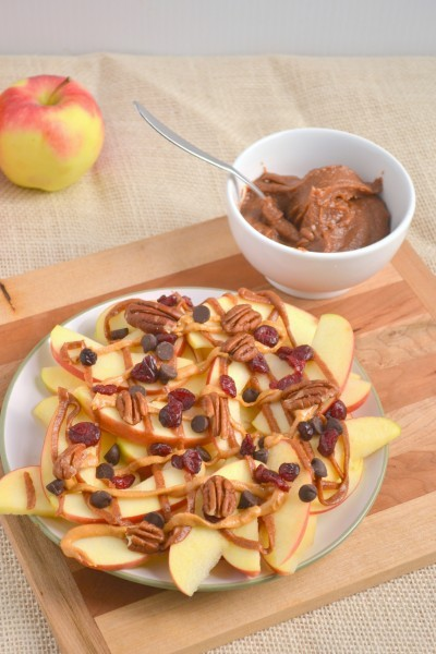 veganlolly:  Apple nachos with cinnamon spiced raw vegan salted caramel Click for recipe for more click here