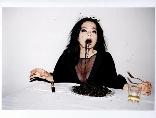 Thinking about Halloween? We're inspired by Bjork eating spaghetti nero shot by Juergen Teller in Venice, 2007