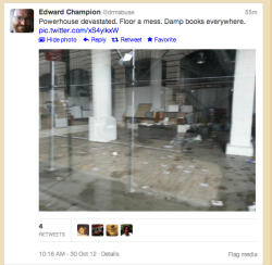 52projects:  aaknopf:  An upsetting photo in our Twitter feed this morning. powerHouse Arena in DUMBO is an incredible bookstore—we're wishing them a speedy clean-up and reopening.  OH NO!  sad
