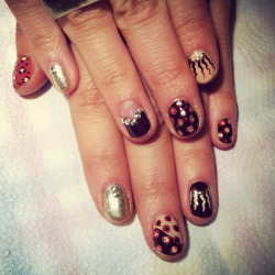 Fall mani with leopard and studs by LJ.