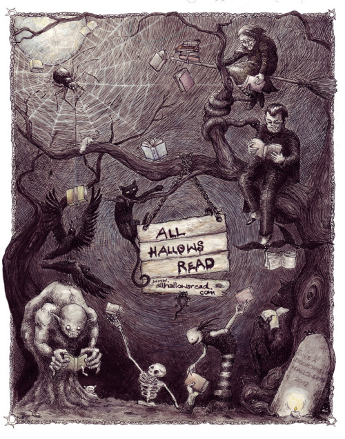 All Halloween read / Todos leen en Halloween (ilustración de The Flying Sheep)