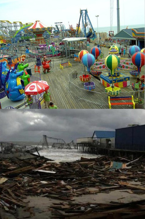 Before and After photos of Funtown Pier.