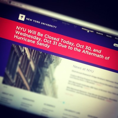 NYU CLOSE ON WEDNESDAY  THANK YOU SANDY !!!!!! #sandy #hurricane #NYC #NYU #closed #school #classcanceled #celebration #happy #jj #snap #morning