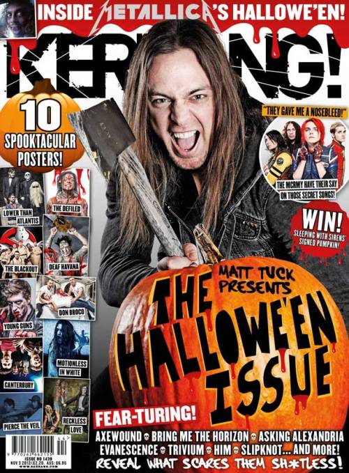 Check out Matt rockin the front page of the Halloween edition of Kerrang! Magazine - pick up a copy (out tomorrow) for the full AxeWound feature