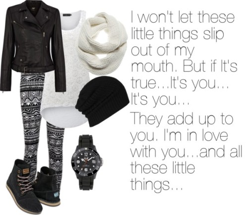 ~Little Things~ von smily, knit beanie hats enthaltendSheer top, $16 / Oasis leather jacket, $230 / TOMS foldable shoes / Ice-Watch , $135 / J Brand  / AllSaints knit beanie hat