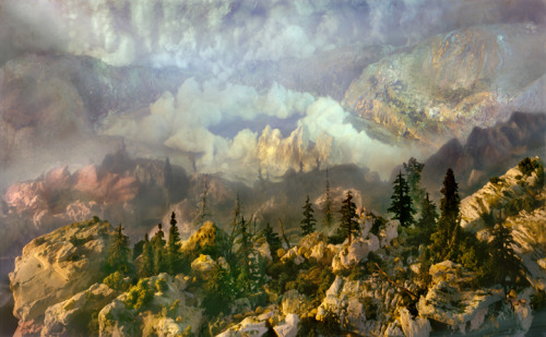 Kim Keever Artist's Biography:  Kim Keever's large-scale photographs are created by meticulously constructing miniature topographies in a 200-gallon tank, which is then filled with water. These dioramas of fictitious environments are brought to life with colored lights and the dispersal of pigment, producing ephemeral atmospheres that he must quickly capture with his large-format camera.