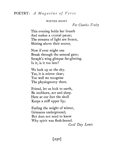 poetrysince1912:  —Cecil Day-Lewis, Poetry, February 1932Daniel Day-Lewis is donating papers belonging to his father, poet Cecil Day-Lewis, to Oxford University.