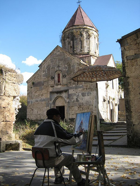 visitheworld:  Painter outside Haghartsin Monastery, Armenia (by raffiflickr).