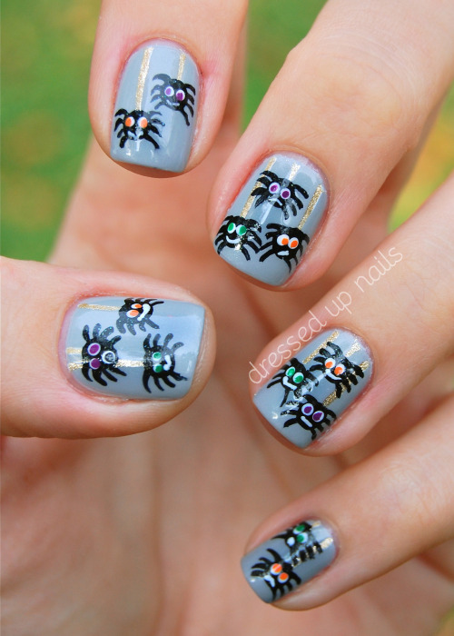 I have some Halloween nails for y'all today… FINALLY. I had a bunch of ideas for Halloween nails but then I got busy and ran out of time to do them all so I'll only be doing two or POSSIBLY three if I can squeeze them in. Anyway, here are the first ones! Derpy spiders! Their little faces crack me up. You can check out the blog post about these to read about how I did them and see more pics and all that other fun stuff. Okay! Wee! Also, come find me on Faaaacebook!